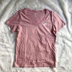 Nike Pink V-Neck Mini Logo Cotton Tee